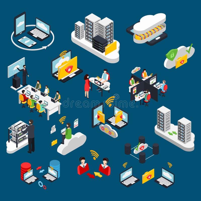 Cloud Office Isometric Icons Set royalty free illustration