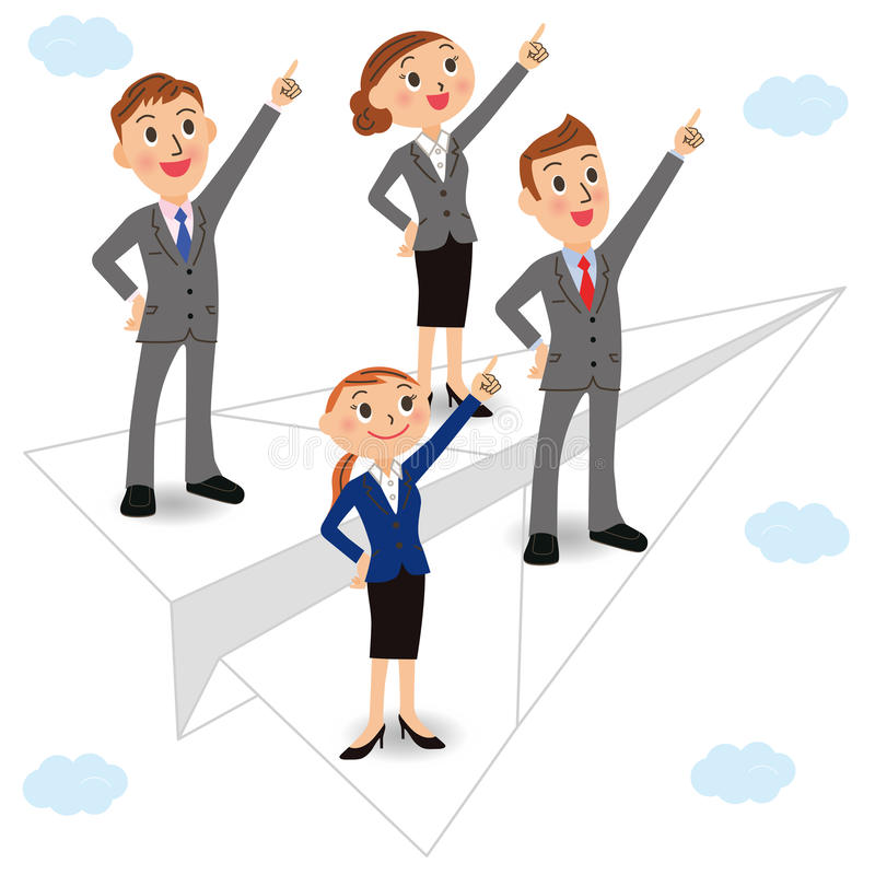 Cloud and office worker stock illustration