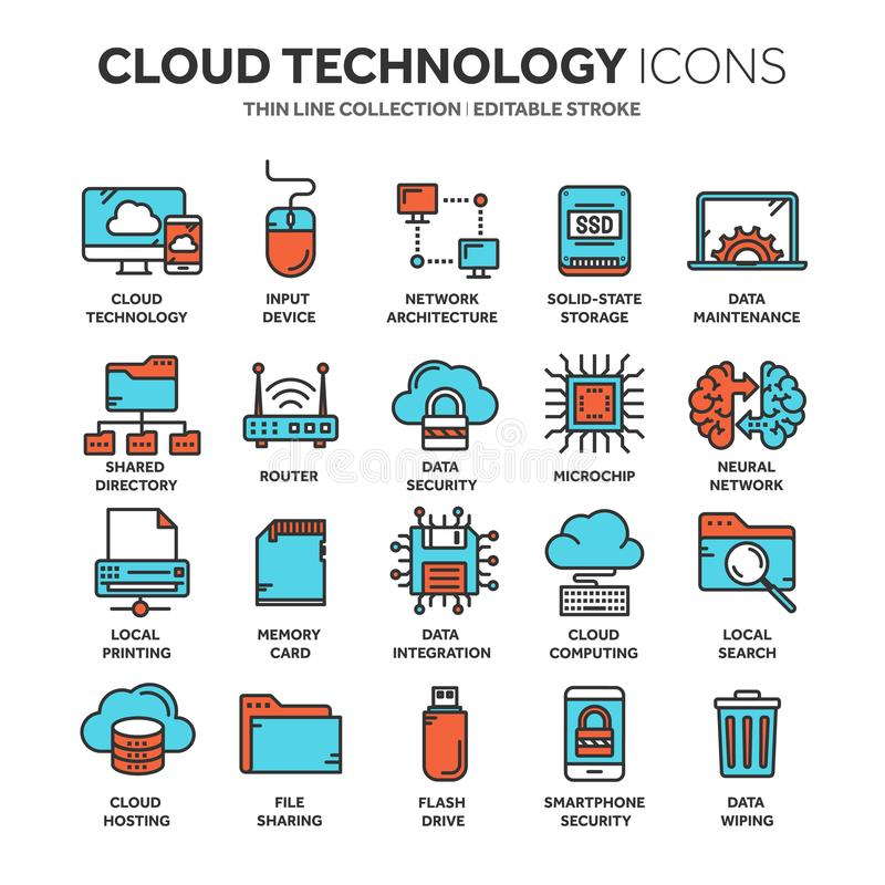 Cloud omputing. Internet technology. Online services. Data, information security. Connection. Thin line blue web icon. Set. Outline icons collection.Vector vector illustration