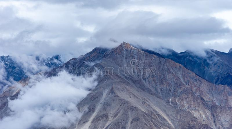 Cloud over Mountains near North Pullu, Khardung La Pass Highest road of The royalty free stock photography