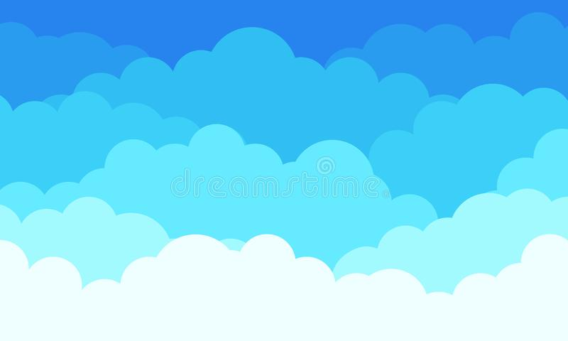 Cloud pattern background, flat white clouds in blue sky. Vector abstract flat graphic cloudscape and weather background vector illustration