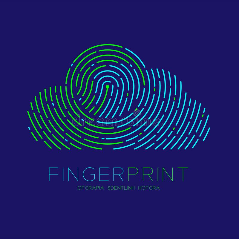 Cloud pattern Fingerprint scan logo icon dash line, Technology connect concept, Editable stroke illustration blue and green. Isolated on blue background with vector illustration
