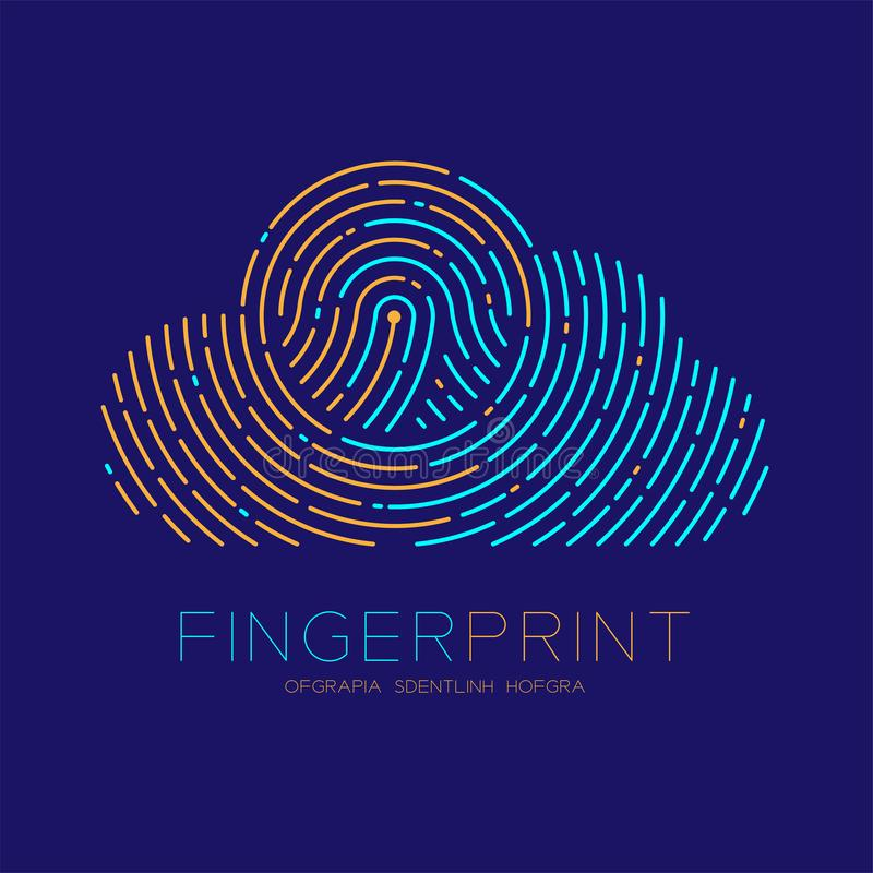 Cloud pattern Fingerprint scan logo icon dash line, Technology connect concept, Editable stroke illustration blue and orange. Isolated on blue background with stock illustration