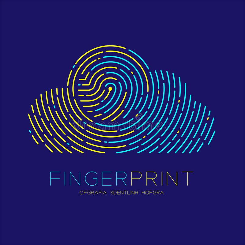 Cloud pattern Fingerprint scan logo icon dash line, Technology connect concept, Editable stroke illustration blue and yellow. Isolated on blue background with vector illustration