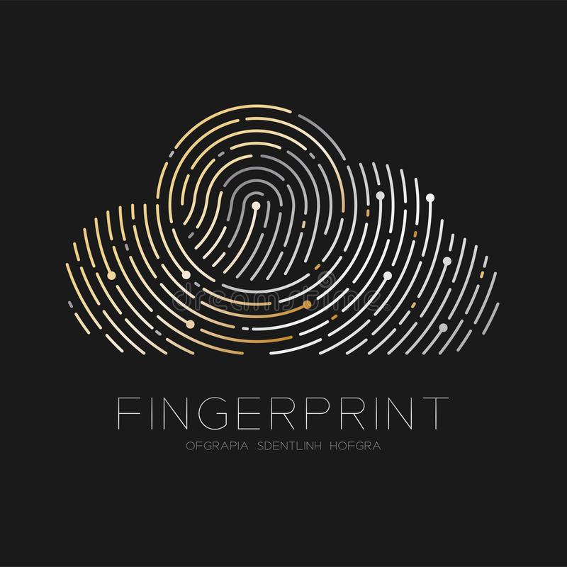 Cloud pattern Fingerprint scan logo icon dash line, Technology connect concept, illustration silver and gold. Isolated on black background with Fingerprint text royalty free illustration
