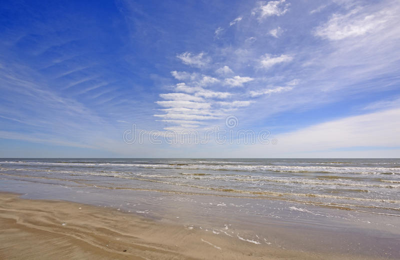 Cloud Patterns over an Ocean Beach. On Padre Island National Seashore in Texas stock photography