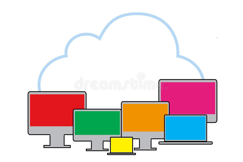 Download Cloud With PC Stock Illustration - Image: 83700501