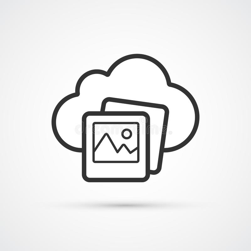 Cloud Photo flat line trendy black icon. Vector eps10 vector illustration