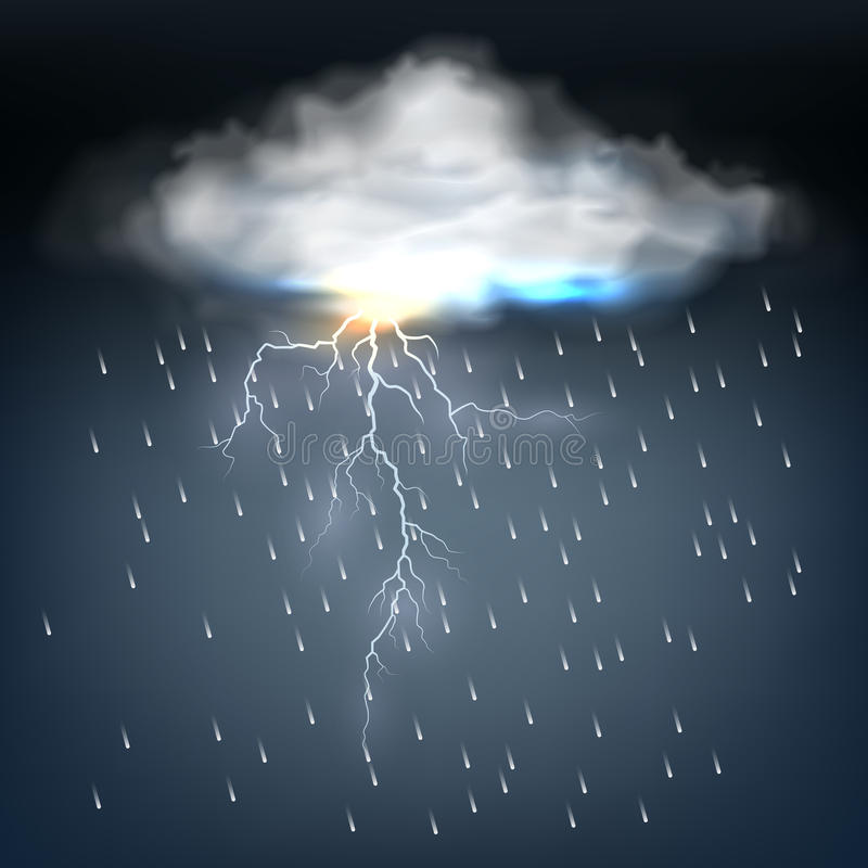 Cloud With Rain And A Lightning Bolt Stock Vector ...