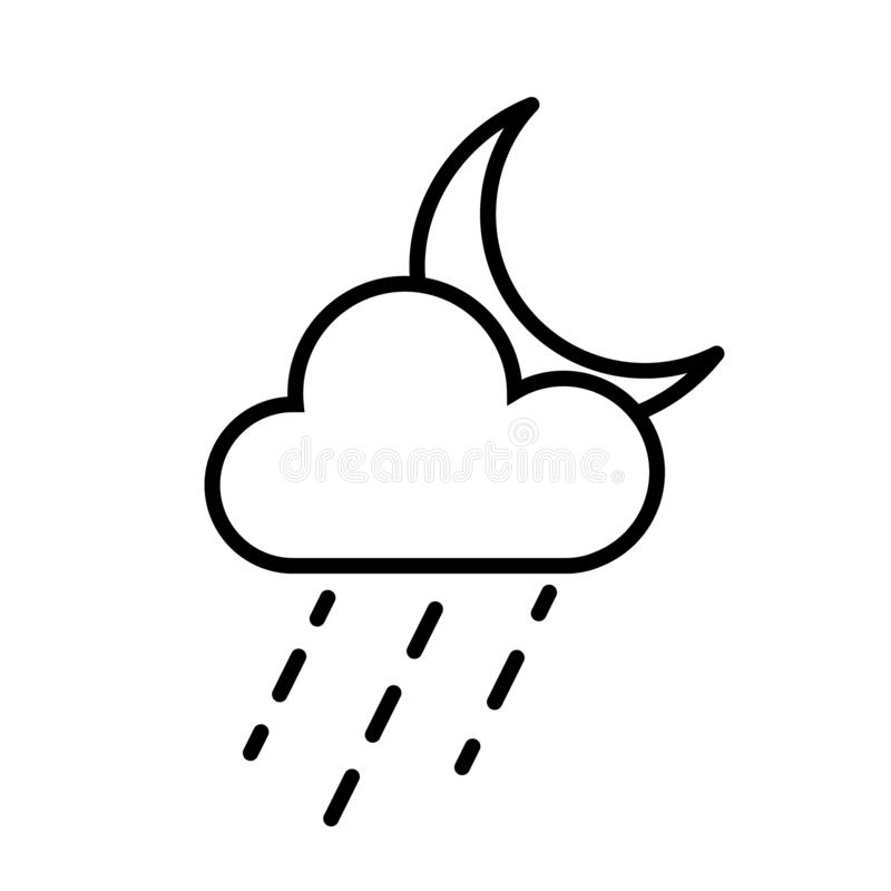 Cloud, Rain and Moon Icon Vector stock illustration