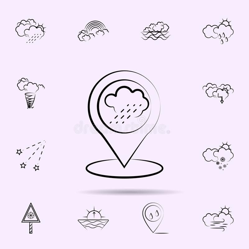 Cloud, rain, pin icon. Weather icons universal set for web and mobile. On color background royalty free illustration