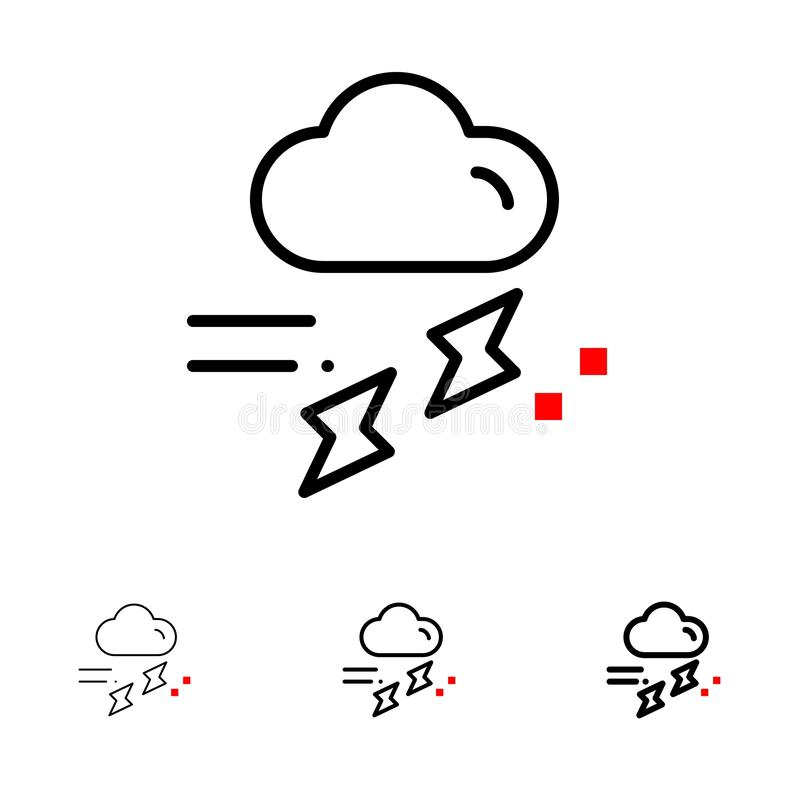 Cloud, Rain, Rainfall, Rainy, Thunder Bold and thin black line icon set vector illustration