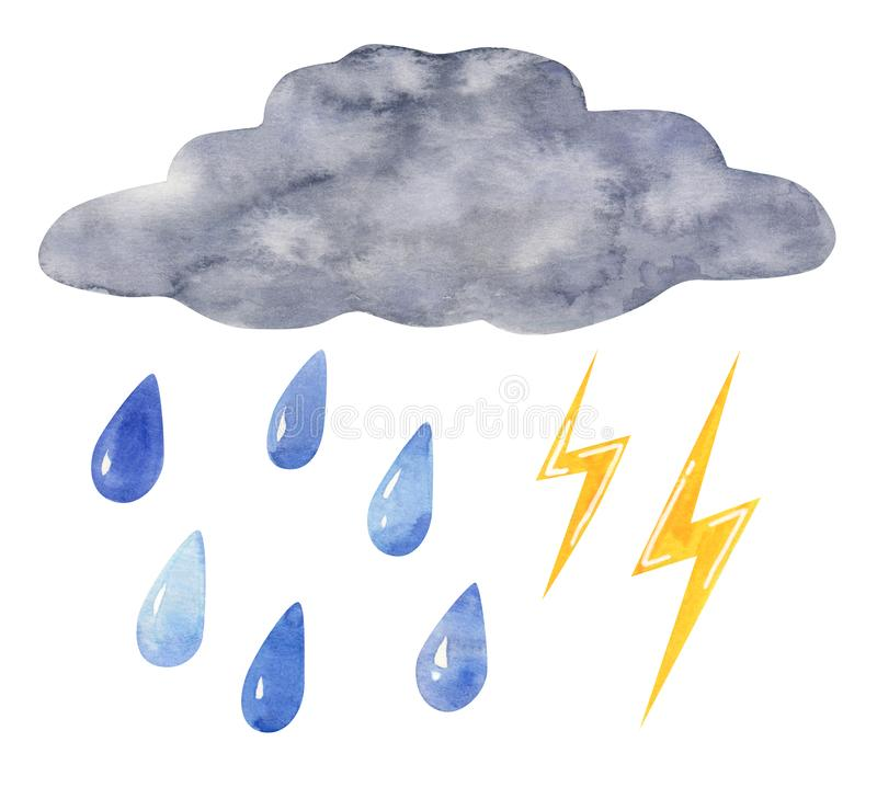 Cloud with raindrops and lightning, hand drawn watercolor illustration royalty free stock images