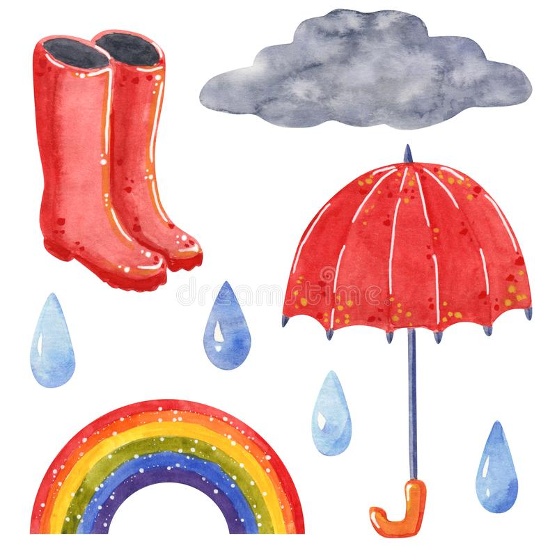 Cloud with raindrops, umbrella, rubber boots, rainbow, hand drawn watercolor illustration royalty free stock photo