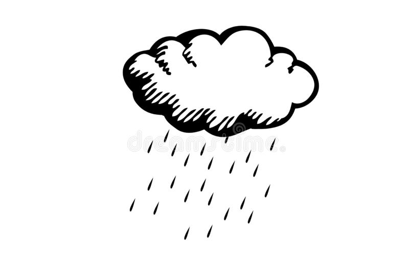 Cloud raining weather on white background. Illustration. Design, logo, drawn, drawing, hand, graphic, creation, element, art, concept, nature, outdoor, view royalty free illustration