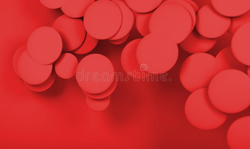 Cloud of red abstract spheres. Digital 3d royalty free illustration