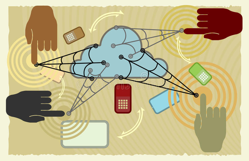 Cloud save in progress. Cloud computing save in progress,Technology background stock illustration