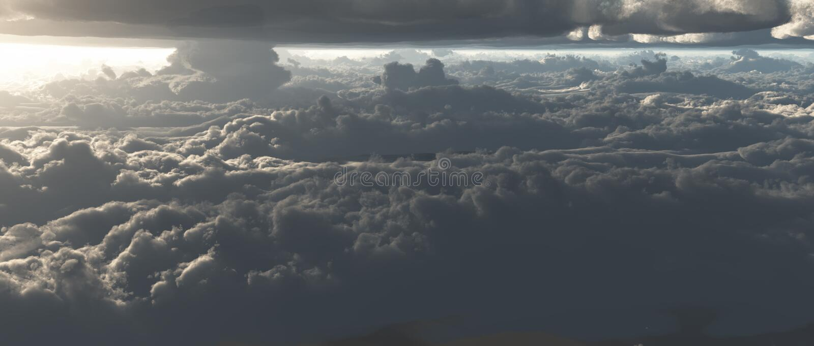 Cloud scape. View Between two cloud layers royalty free illustration