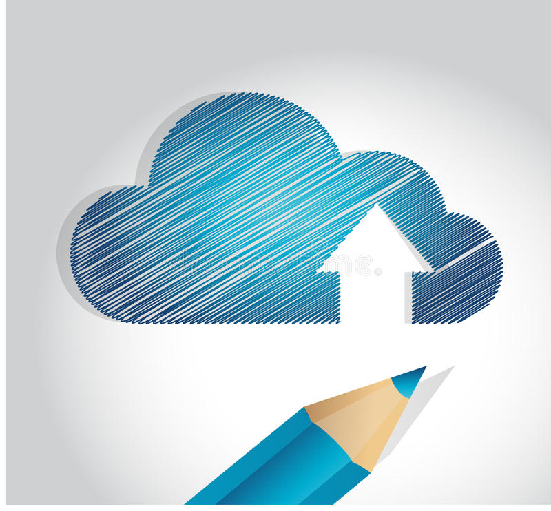 Cloud scribble drawing illustration design royalty free illustration