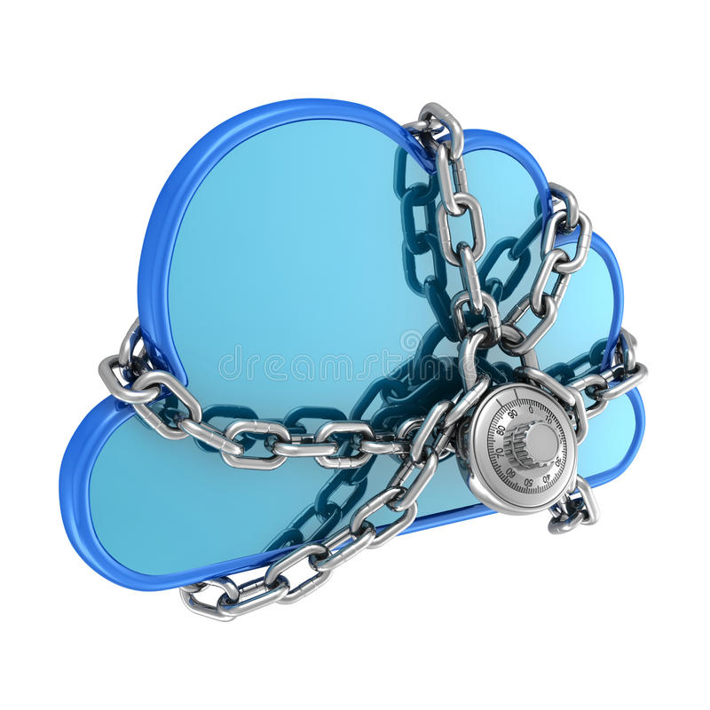 Cloud Secured with a Lock royalty free illustration