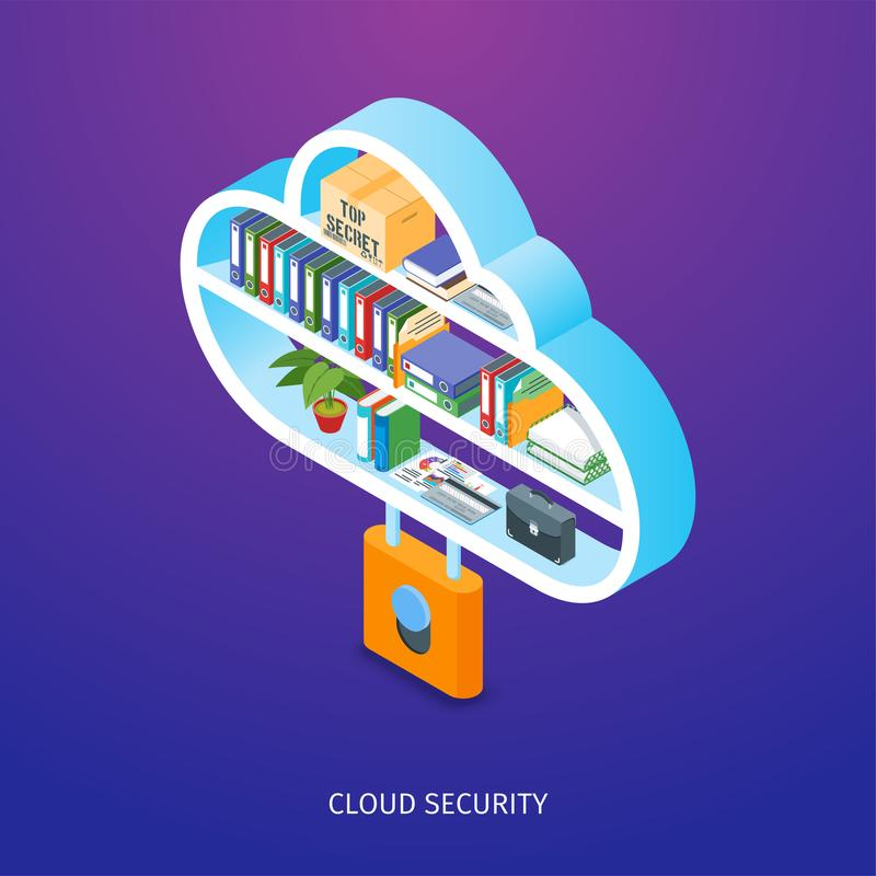 Cloud security concept. Image of a locked cloud. Documents, folders and box standing on the shelves. Isometric concept. Highly detailed vector illustration vector illustration