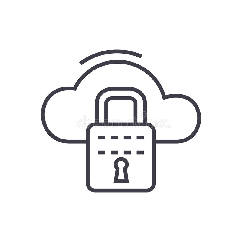Cloud security vector line icon, sign, illustration on background, editable strokes royalty free illustration
