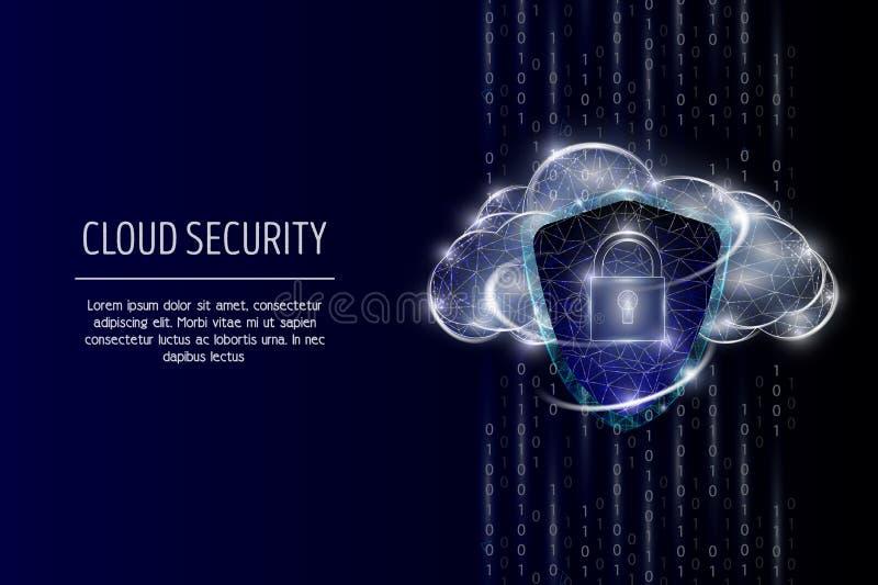 Cloud security, vector polygonal art style illustration vector illustration