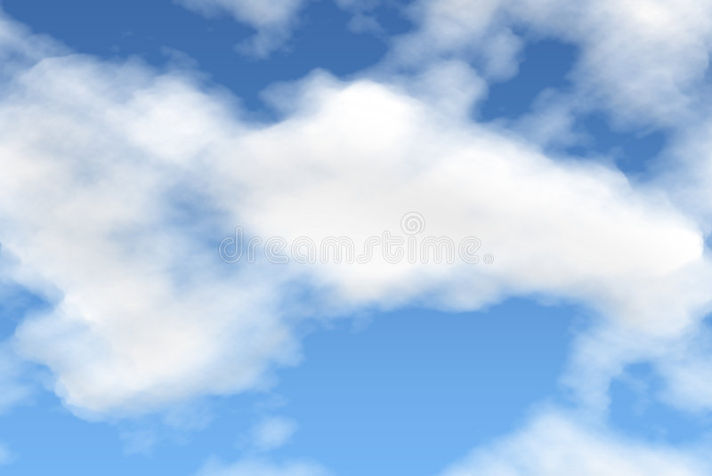 Cloud Series. White fluffy clouds on a gradient sky stock photos