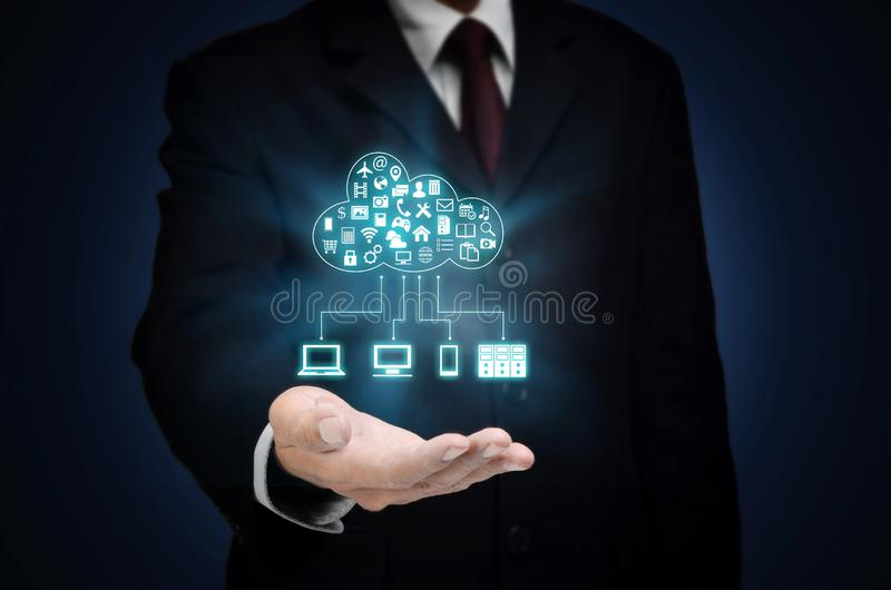 Internet Cloud server application and hosting royalty free stock photo