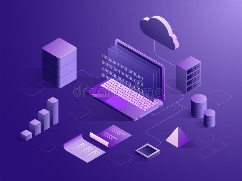 Cloud server connect with laptop, binary coding on screen, with vector illustration