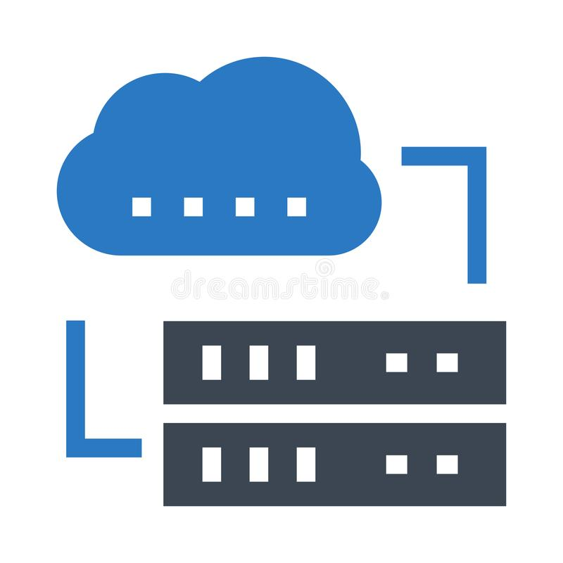 Cloud Server Glyph Color Vector Icon Stock Vector - Illustration of