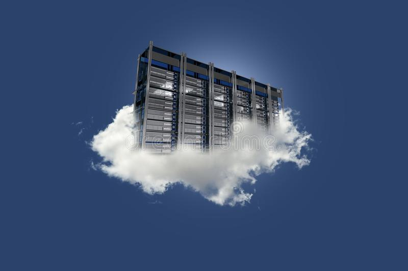 Cloud Server on the Sky. Cloud Data Center Floating on the Small Cloud. Clear Blue Sky. Cloud Technology Theme