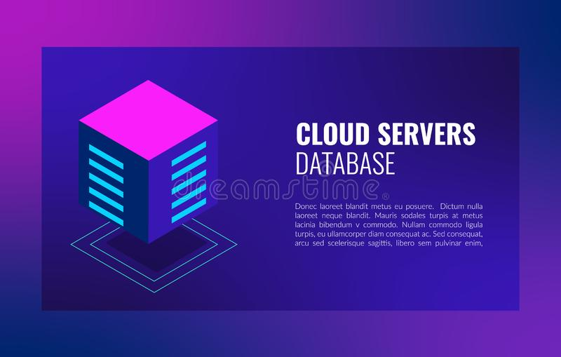 Cloud servers database isometric concept. Hosting server Computer storage or farming workstation. royalty free stock images