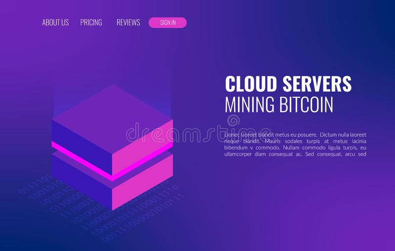 Cloud servers mining bitcoin isometric concept. 3d datacenter or blockchain background stock photos
