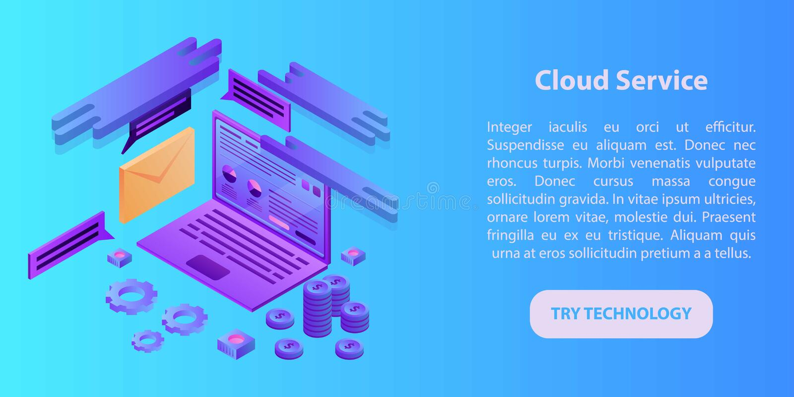Cloud service concept banner, isometric style stock illustration