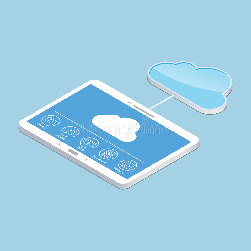 Cloud service. Concept design of tablet storage files. Isometric illustration. Cloud service. Concept design of the tablet storage files. Isometric illustration stock illustration