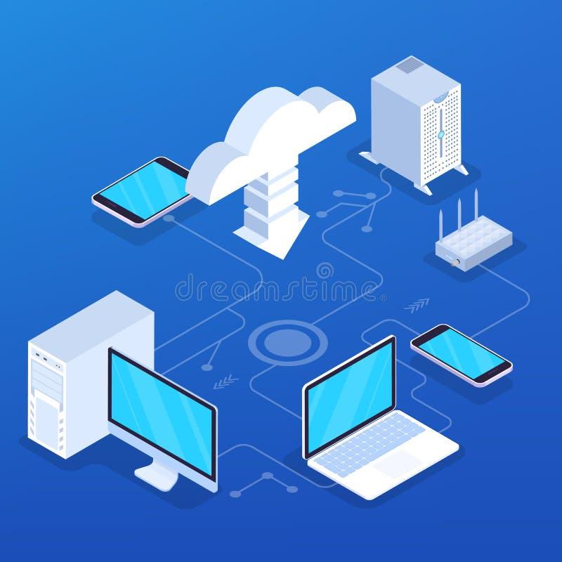 Cloud service concept. Idea of digital technology vector illustration