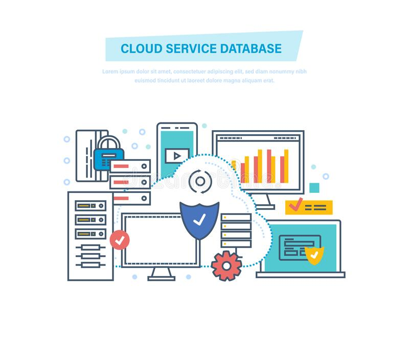 Cloud service database. Computing, network. Data storage device, media server. Cloud service database. Computing, network. Data storage device, media server vector illustration
