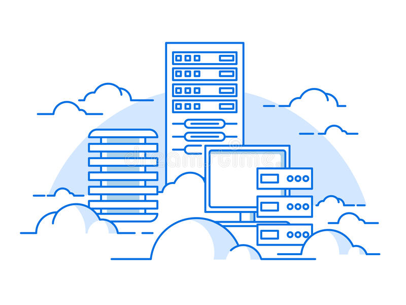 Cloud service database vector illustration