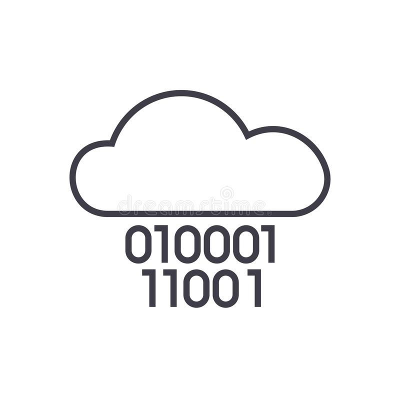 Cloud service,digits zero one,binary code vector line icon, sign, illustration on background, editable strokes royalty free illustration