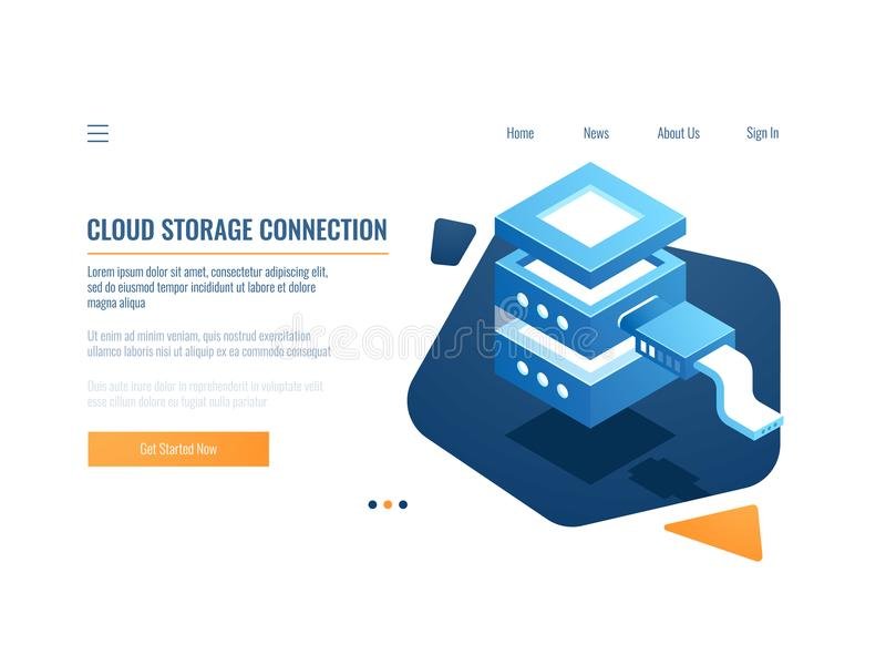 Cloud service icon, banner remote data storage and backup system, server room, datacenter and database isometric vector. Illustration royalty free illustration