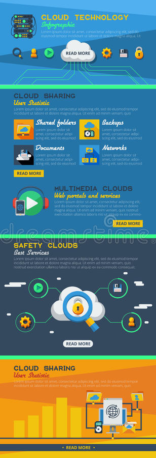 Cloud Service Infographics vector illustration