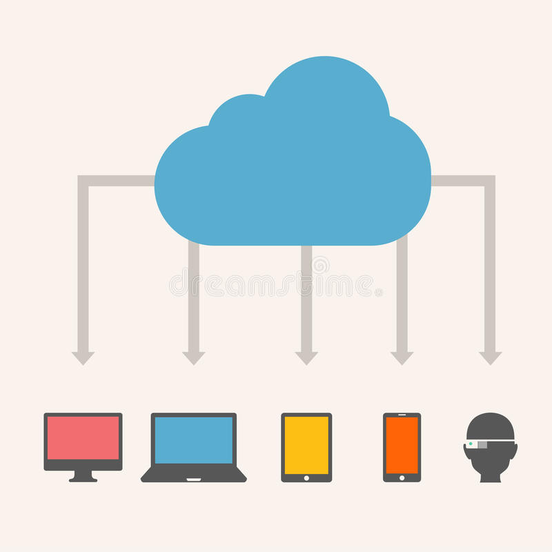 Cloud Service. Isolated on Grey Gradient Background. Vector Illustration stock illustration