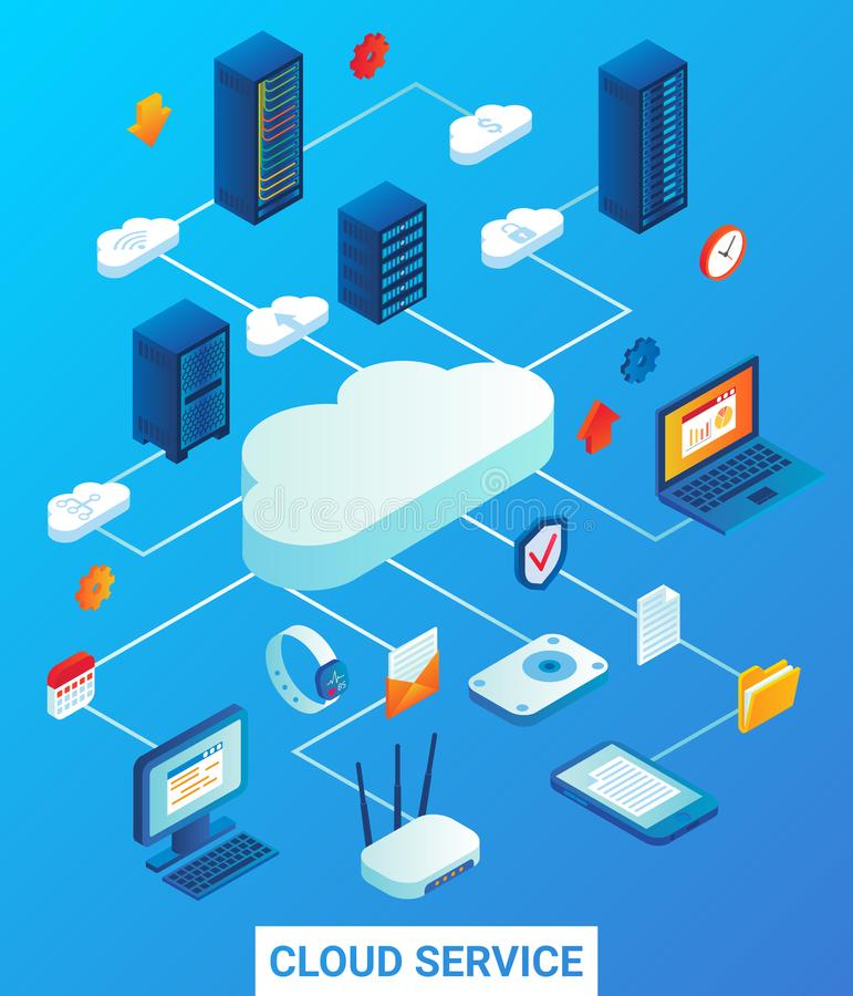 Cloud service vector flat isometric illustration royalty free illustration
