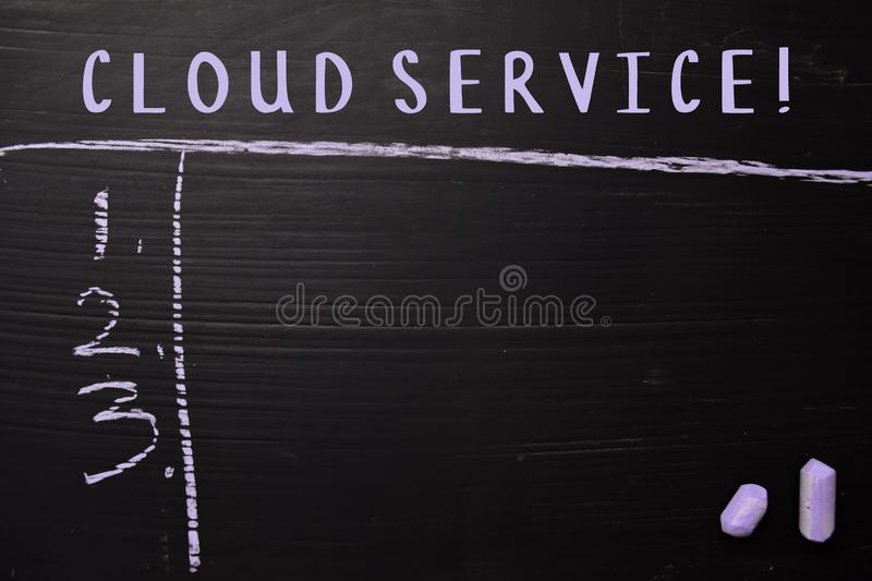Cloud Service! written with color chalk. Supported by an additional services. Blackboard concept royalty free stock photos