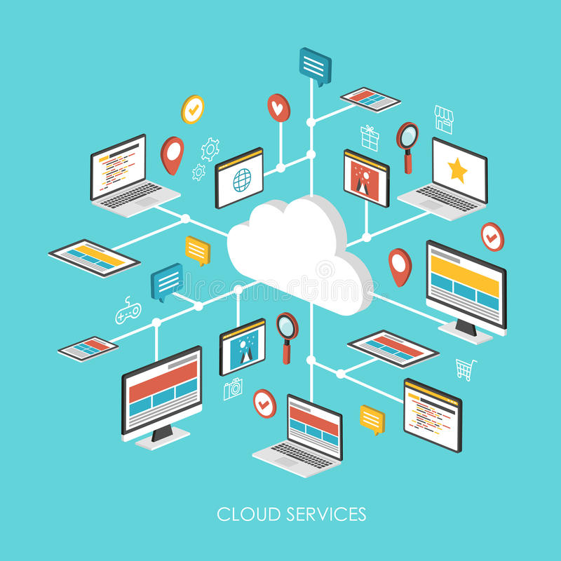 Cloud services concept 3d isometric infographic. Over blue background stock illustration