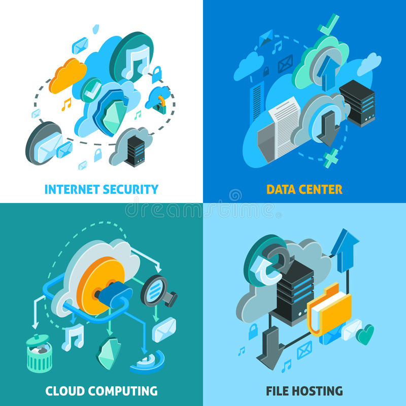 Cloud Services Concept Icons Set royalty free illustration