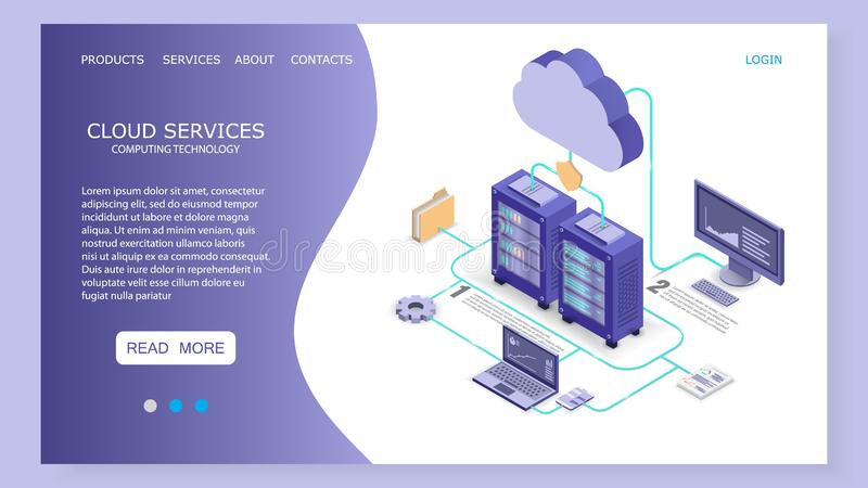 Cloud services landing page website vector template. Cloud services landing page website template. Vector isometric illustration. Cloud computing technology royalty free illustration