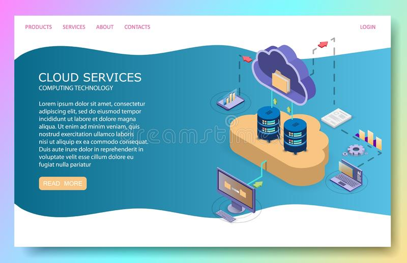 Cloud services landing page website vector template. Cloud services landing page website template. Vector isometric illustration. Cloud storage and file sharing vector illustration