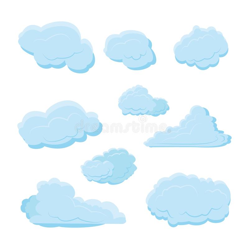 Cloud set collection with various shape and blue color with modern flat style - vector stock illustration